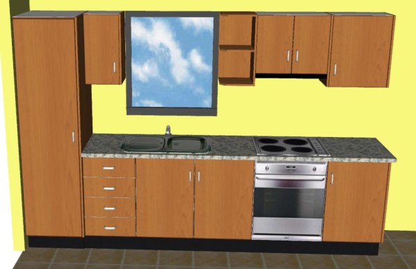 One Wall Kitchen Brown